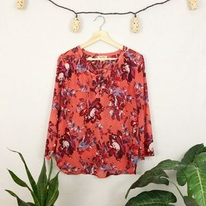 Lucky Brand sheer floral lace up peasant blouse S
